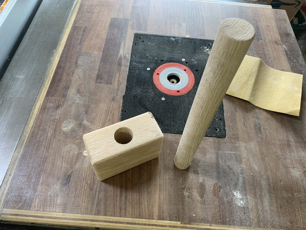 mallet head and handle sanded