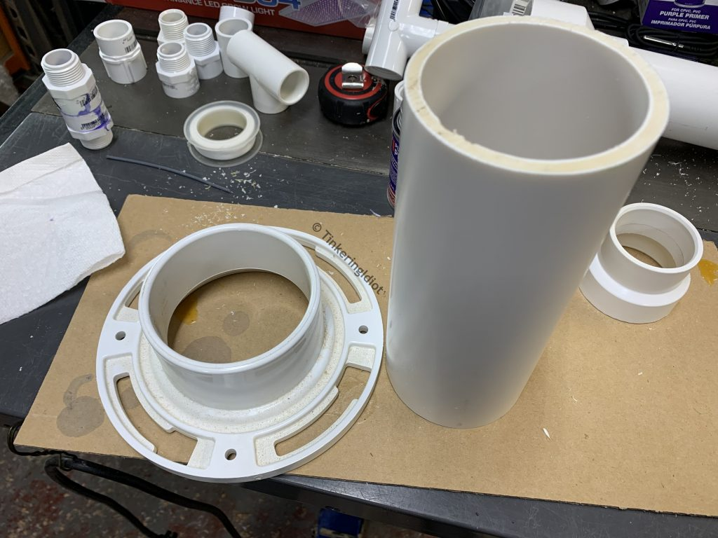 """3"""" PVC and toilet flange will make up the base"""