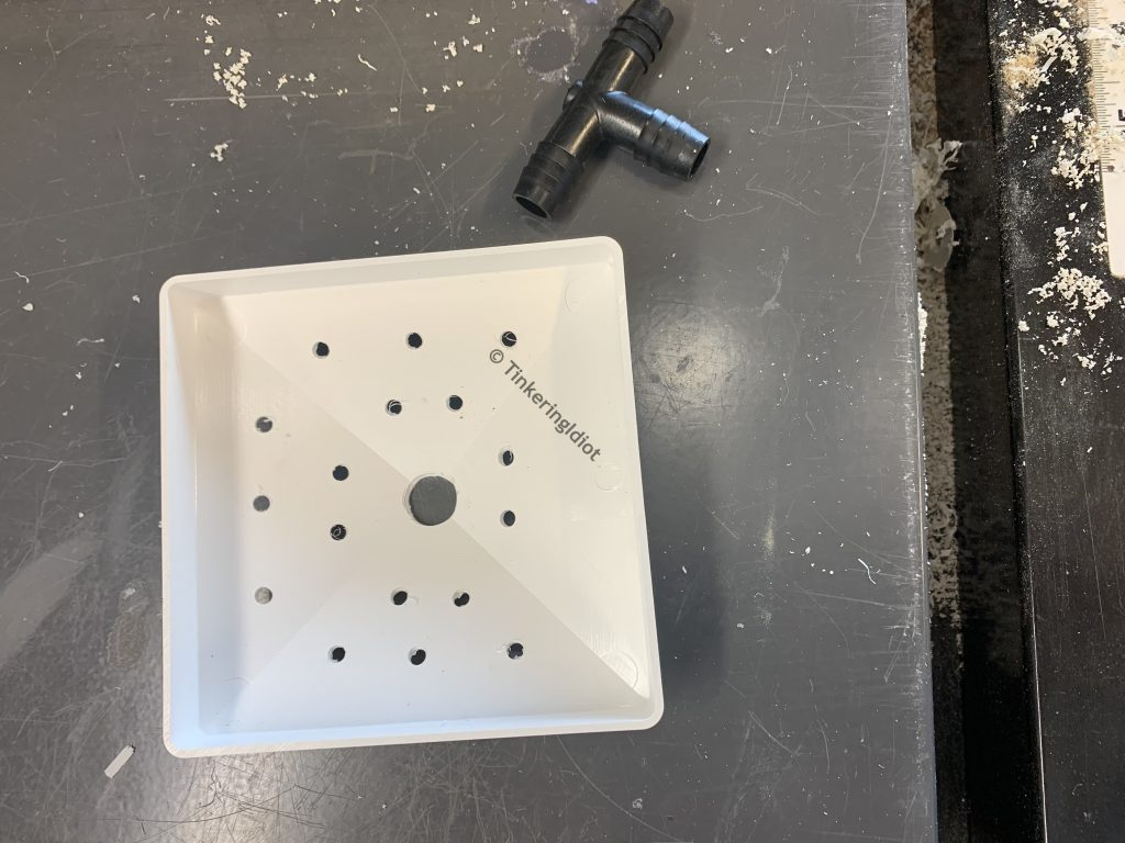 rain cap with holes drilled